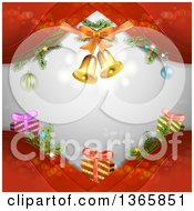 Clipart Of A Christmas Background Of Bells And Gifts On Red Waves Over Gray With Flares Royalty Free Vector Illustration