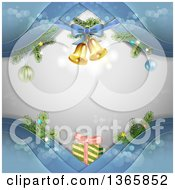 Clipart Of A Christmas Background Of Bells And Gifts On Blue Waves Over Gray With Flares Royalty Free Vector Illustration