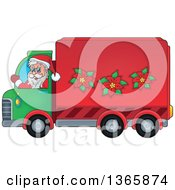 Clipart Of A Cartoon Christmas Santa Claus Driving A Delivery Truck Royalty Free Vector Illustration