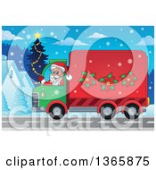Clipart Of A Cartoon Santa Claus Driving A Delivery Truck On Christmas Eve Royalty Free Vector Illustration
