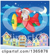 Clipart Of A Christmas Santa Claus Flying A Plane Over A Village At Night Royalty Free Vector Illustration