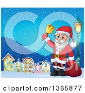 Clipart Of A Christmas Santa Claus Ringing A Bell In A Village At Night Royalty Free Vector Illustration