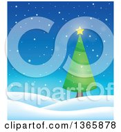 Clipart Of A Christmas Or Winter Background With A Tree On Snowy Hills Royalty Free Vector Illustration by visekart