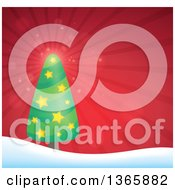 Clipart Of A Christmas Or Winter Background With A Tree On Snowy Hills Over Red Rays Royalty Free Vector Illustration