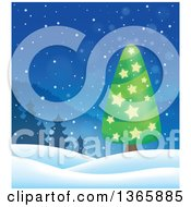 Clipart Of A Christmas Or Winter Background With A Tree On Snowy Hills Royalty Free Vector Illustration