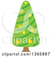Clipart Of A Christmas Tree With Stars Royalty Free Vector Illustration