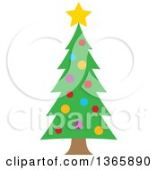 Clipart Of A Christmas Tree With Colorful Baubles Royalty Free Vector Illustration