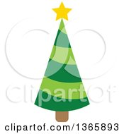 Clipart Of A Christmas Tree With A Star Royalty Free Vector Illustration