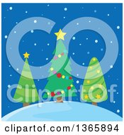 Clipart Of Three Christmas Trees On A Hill In The Snow Over Blue Royalty Free Vector Illustration