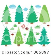 Clipart Of Conifer Evergreen Trees Clouds Mushrooms And Grass Royalty Free Vector Illustration by visekart