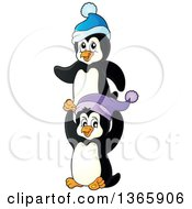 Clipart Of Cute Christmas Penguins Wearing Winter Hats Royalty Free Vector Illustration by visekart