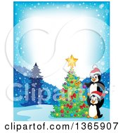 Clipart Of Border Of Cute Christmas Penguins Decorating A Tree Royalty Free Vector Illustration