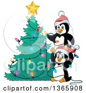 Clipart Of Cute Penguins Putting Lights On A Christmas Tree Royalty Free Vector Illustration