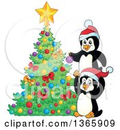Clipart Of Cute Christmas Penguins Decorating A Tree Royalty Free Vector Illustration