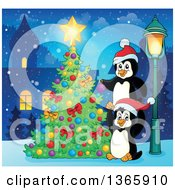 Clipart Of Cute Christmas Penguins Decorating A Tree In A Village At Night Royalty Free Vector Illustration