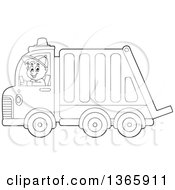Cartoon Black And White Man Driving A Garbage Truck