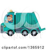 Cartoon Caucasian Man Driving A Garbage Truck