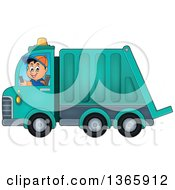 Clipart Of A Cartoon Caucasian Man Driving A Garbage Truck Royalty Free Vector Illustration