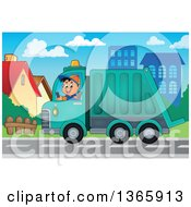Cartoon Caucasian Man Driving A Garbage Truck In A Neighborhood
