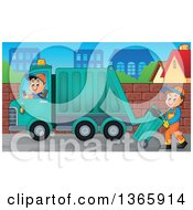 Cartoon Caucasian Man Driving A Garbage Truck And One Moving A Bin