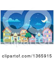 Clipart Of A Village At Night Royalty Free Vector Illustration