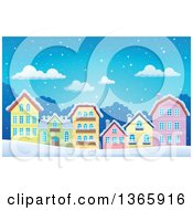 Clipart Of A Winter Village In The Snow Royalty Free Vector Illustration by visekart