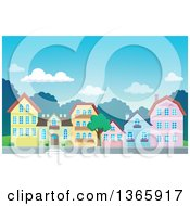 Clipart Of A Village During The Day Royalty Free Vector Illustration
