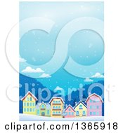 Clipart Of A Winter Village In The Snow Royalty Free Vector Illustration