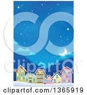 Clipart Of A Winter Village On A Snowy Winter Night Royalty Free Vector Illustration