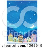Winter Village On A Snowy Winter Night