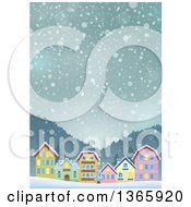 Clipart Of A Winter Village On A Snowy Winter Night Royalty Free Vector Illustration by visekart