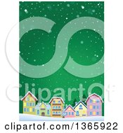 Clipart Of A Winter Village In The Snow Over Green Royalty Free Vector Illustration by visekart
