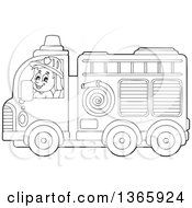 Clipart Of A Cartoon Black And White White Male Fireman Driving A Fire Truck Royalty Free Vector Illustration by visekart