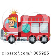 Cartoon White Male Fireman Driving A Fire Truck
