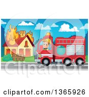 Clipart Of A Cartoon White Male Fireman Driving A Fire Truck To A House Fire Royalty Free Vector Illustration