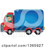 Clipart Of A Cartoon Happy White Man Driving A Delivery Truck Royalty Free Vector Illustration