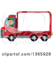 Clipart Of A Cartoon Happy White Man Driving A Delivery Truck With Advertising Space Royalty Free Vector Illustration