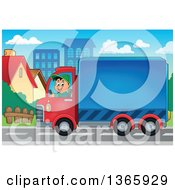 Clipart Of A Cartoon Happy White Man Driving A Delivery Truck In A City Royalty Free Vector Illustration