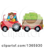 Cartoon White Male Farmer Driving A Tractor And Pulling Hay In A Cart