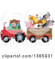 Cartoon White Male Farmer Driving A Tractor And Pulling Livestock Animals In A Cart