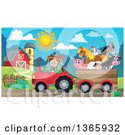 Cartoon White Male Farmer Driving A Tractor And Pulling Livestock Animals In A Cart Near A Barn