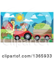 Poster, Art Print Of Cartoon White Male Farmer Driving A Tractor And Pulling Hay In A Cart Near A Barn