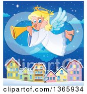 Happy Blond Female Christmas Angel Blowing A Horn And Flying Over A Village At Night