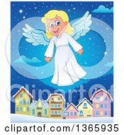 Happy Blond Female Christmas Angel Flying Over A Village At Night