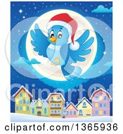 Clipart Of A Cartoon Blue Bird Wearing A Santa Hat And Flying Over A Full Moon And Village At Night Royalty Free Vector Illustration by visekart