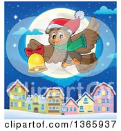 Clipart Of A Cartoon Christmas Owl Wearing A Winter Scarf And Hat Flying And Ringing A Bell Against A Full Moon And Village A Tnight Royalty Free Vector Illustration