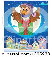 Clipart Of A Cartoon Festive Christmas Owl Flying With A Gift Over A Full Moon And Village At Night Royalty Free Vector Illustration by visekart