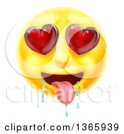 Clipart Of A 3d Lusting Yellow Male Smiley Emoji Emoticon Face Drooling With Heart Eyes Royalty Free Vector Illustration