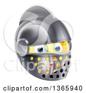 Clipart Of A 3d Yellow Smiley Emoji Emoticon Knight Face In A Helmet Royalty Free Vector Illustration