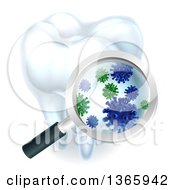 Clipart Of A 3d Magnifying Glass Discovering Germs Or Bacteria On A Tooth Royalty Free Vector Illustration by AtStockIllustration